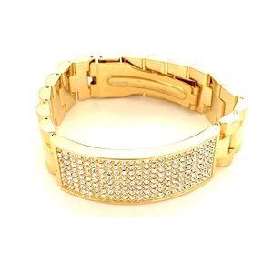 Paramex Stone ID Bracelet EUC! Gold Tone Trifold